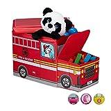 Relaxdays Sitzbox Kinder, Staubox mit Deckel, Spielzeug, faltbar, Feuerwehrauto, Stauraum, Jungen & Mädchen, 50 l, rot
