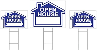3-Pack Open House Sign Kit - Double Sided Signs & H-Stakes - Blue Property Signs 18