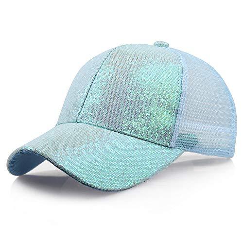 SANFASHION Damen Mädchen Mützen Baseball Cap Pferdeschwanz Baseballmütze Pailletten Unisex Baseballcap Reine Farbe Kappe (S, Blau)