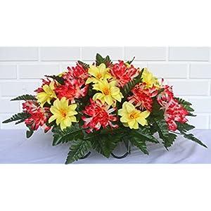 3120 Beautiful Spring Cemetery Arrangement, Headstone Saddle, Grave, Tombstone Arrangement, Cemetery Flowers