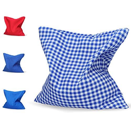 Vasanno Kirschkernkissen 20 x 20cm Wärmekissen - Körnerkissen Verschiedene Farben (Blau karriert)