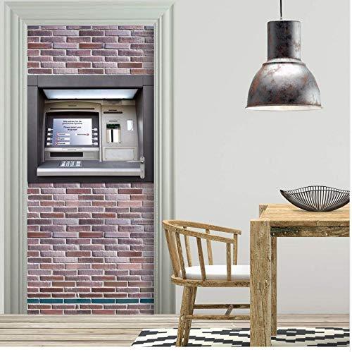Diy 3D Kreative Atm Muster Tür Aufkleber Wohnkultur Für Schlafzimmer Wohnzimmer Poster Pvc Wasserdichte Aufkleber 77X200 Cm Türaufkleber