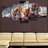 YJJPP 5 Impresiones en Lienzo HD Wall Art Canvas Poster Kids Room Caligrafía 5 Set Animal Tiger Estilo de Moda Decoración del hogar Imagen Modular Impresiones Pintura