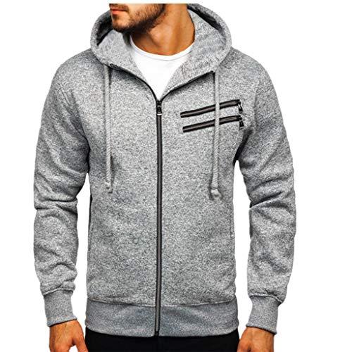 Homme Sweatshirt avec Capuche Zip Sportif Blouson de Veste à Manches Longues pour Hommes Slim Hoodies Sweat-Shirts Hoodie Automne Hiver Cebbay(Gris,L3)