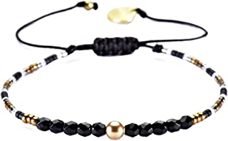 Beaded Friendship-Style Single Strand Bracelet with Adjustable Closure (Black)