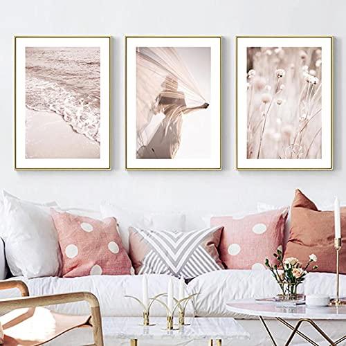 Arte de la pared de la obra de arte Pintura Personaje abstracto Pintura de la lona Impresión moderna para la sala de estar Decoración del hogar Pintura- (50X70cm) X3 Sin marco