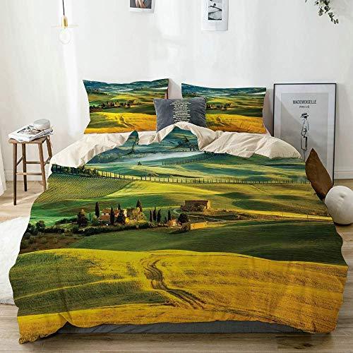 Soefipok Bettwäscheset Beige, idyllische Landschaft der Toskana und Zypressen zum mittelalterlichen Bauernbild, dekoratives 3-teiliges Bettwäscheset mit 2 Kissenbezügen
