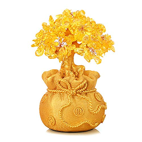 Vaorwne Lucky Money Tree Ornament Fortune Tree Ornament Golden Purse Tree Ramadan Decoration Desktop Delicate Crystal Beautiful Crafts Large