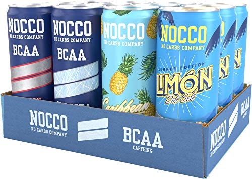 NOCCO BCAA Core Variety Pack | 12 x 330ml | Zero Sugar Functional Energy Drink | No Carbs Company | Vitamin Enhanced with 180ml Caffeine | Flavoured Functional Drinks for Health, Fitness & Everyday