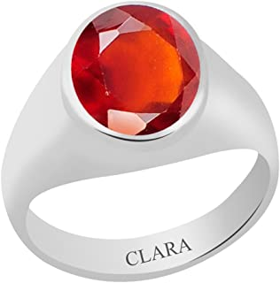 Clara Certified Gomed (Hessonite) 5.5cts or 6.25ratti Bold Silver Ring For Men & Women