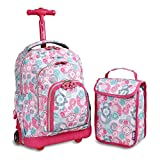 J World New York Kids' Lollipop Rolling Backpack With Lunch Self-Magnetic Sparkling Wheel and'FREE'Lunch Bag, Blue Raspberry, 16'