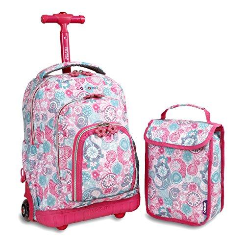 J World New York Kids' Lollipop Rolling Backpack & Lunch Bag Set, Blue Raspberry, One Size