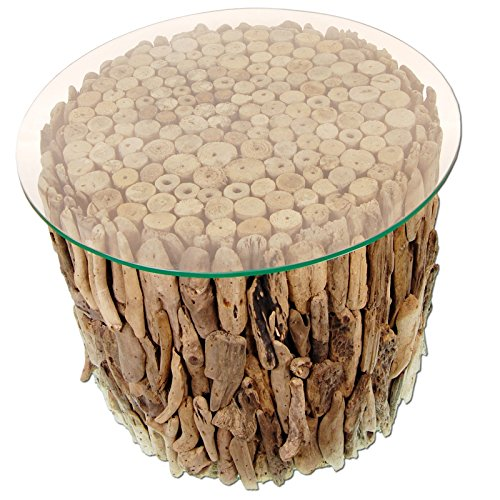 *SEESTERN Treibholz Beistell Tisch incl. Glasplatte Driftwood Holzdeko 40 cm hoch /1632*
