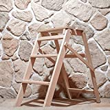 REPLOOD Scala Scaletto 3 Gradini in Legno di Faggio Naturale Portata 150 kg Antiscivolo Dimensioni: 38 x 65 x 66 cm