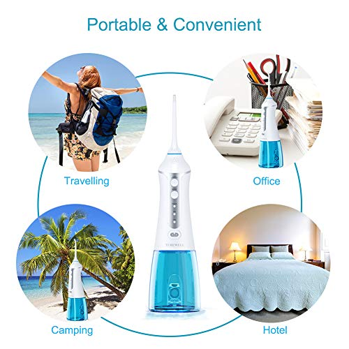 Turewell Water Flosser for Teeth,Portable Cordless Dental Oral Irrigator with 4 Jet Tips and 300ml Reservoir, 3 Cleaning Modes, IPX7 Waterproof,Turewell Rechargeable Water Dental Flosser, FDA Approved