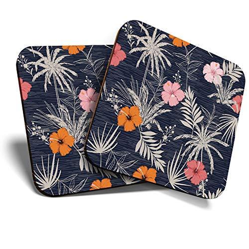 Untersetzer (Set mit 2 Stück) quadratisch/glänzende Qualität Untersetzer für jeden Tisch – tropische Hawaii Hibiskus Surf Flower #13243
