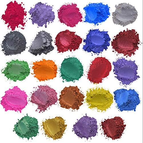 Polvo de mica -Tinte de jabón -24/30/52 Pigmentos de polvo de colores para resina epoxi de tinte DIY/Joyería de resina/Sombra de ojos/Arte de uñas/Pintura/Proyectos artesanales (24)
