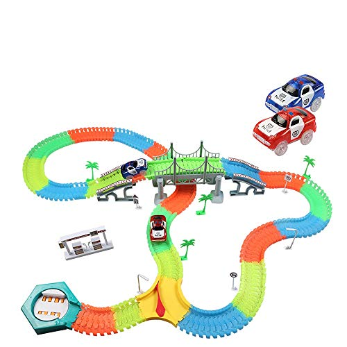 infinitoo Autorennbahn, Magic Trucks Auto Spielset, Inclusive 220 Stück Tracks & 2 E-Autos & 40 Zubehör, Rennbahn Racetrack Spielset für Kinder ab 3 Jahre Alt … (220+40pcs) (color3)