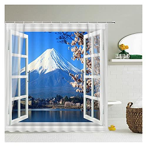 YZL Duschvorhang, Duschvorhang, Stoff, langlebig, wasserdicht, mit 12 Haken und beschwertem Magnet, Halterung Fuji Sakura (Größe: 180 x 200 cm)