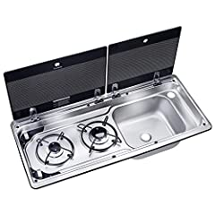 Compact two-burner hob with sink on right side Heat-resistant safety glass lids provides more work space when closed Easy-to-clean detachable pan supports Supplied with siphon and rubber seal Taps available separately
