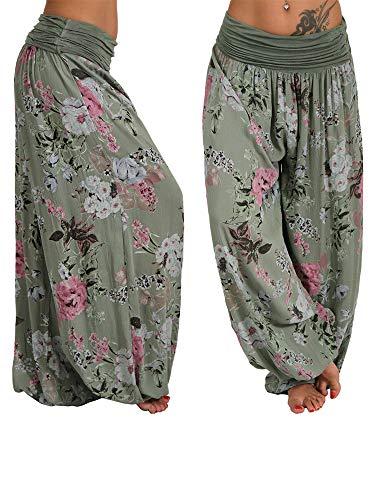 N / C Pantalones de harén casuales sueltos para mujer, con estampado floral, para yoga, deportes, baile, pantalones largos