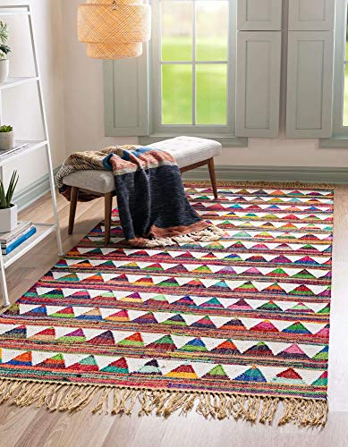 Unique Loom Chindi Trellis Collection Modern Geometric Bright Colors Multi/Ivory Area Rug (4' 0 x 6' 0)