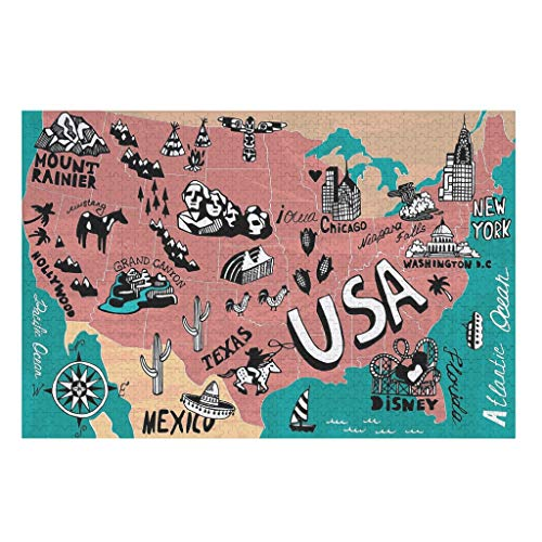 U.S.A. Map American Wooden Jigsaw Puzzles For Adults And Kids Preschool Educational Learning Toys Set For Boys And Girls Parent-Child Interactive Toy Creative Home Decor Gift white 1000pieces