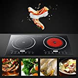Dual Electric Induction Cooker,110V 2400w Portable Digital Countertop Double Burner Cooktop Touch Sensor Control Stove Dual Hot Plate 8 Gear Firepower