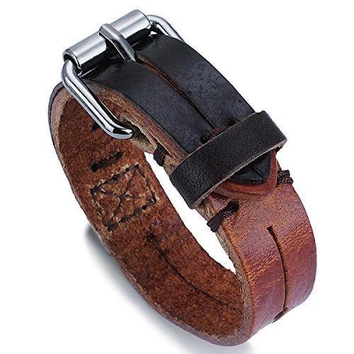 PAPAYANA A006-BN Dual-Color Herren Leder-Armband Echtleder Manchette verstellbar in Hellbraun-Braun