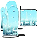 ngxianbaimingj Abstracto Travel City Paris France - Juego de guantes y agarraderas para horno (superficie antideslizante resistente al calor)