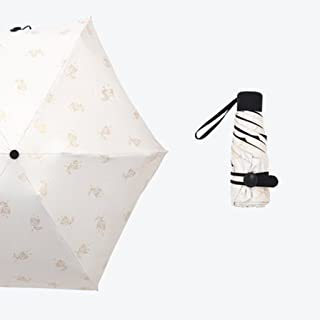 Stick Umbrellas Sun Umbrella UV Umbrella Folding Umbrella Vinyl Mini Umbrella Compact and Lightweight (Color : Beige)