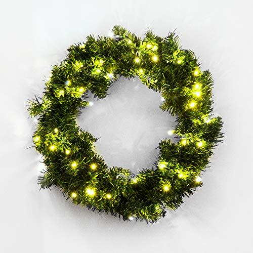 HOMCOM Corona de Navidad Guirnalda Decorativa de Navidad 50 Luces LED Blanco Cálido Φ55cm para Puerta Ventana o...