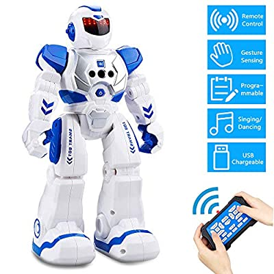 PRANITE Remote Control Robot, Intelligent Programmble RC Robots with LED Eyes, Gesture Sensing with Infrared Controll Small Robots for Kids Boys and Girls