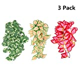 SLSON 3Pack Reptile Plants Plastic Terrarium Plant Hanging Silk Plants with Suction Cup for Bearded Dragons,Lizards,Geckos,Snake,Hermit Crab Tank Habitat Decorations,12 inches
