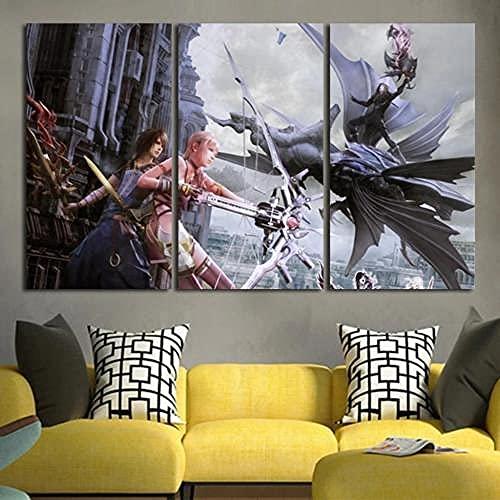 IMAX888 3 Pieza Cuadro En Lienzo 3 Piezas Cuadros 3 Partes Modernos Cuadros Impresión Impresión Artística Serah Farron Final Fantasy XIII Imagen Gráfica Lienzo XXL 3 Piezas Lienzo Decorativo