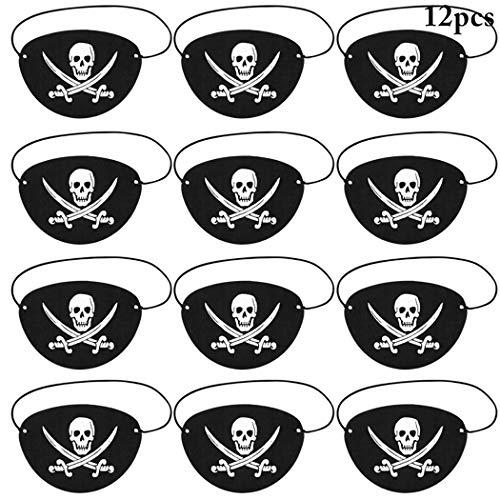 Joyibay Piraten Augenklappen, 12 Stück Schwarz Augenklappen für Kinder Erwachsene Piraten Partyzubehör Totenkopf und Kreuzmesser Piraten Augenklappe für die Karneval, Halloween und Partys