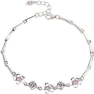 CHIFEI Joyas para Mujer Plata Cristal Blanco Melocotón Rosa Sakura Platino Moda Pulsera Ajustable