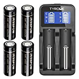 18500 Rechargeable Batteries 4 Pack with Charger, JESSPOW IMR 18500 Rechargeable Li-ion Battery 1600mAh 3.7V [ for Flashlight, Solar Garden Light ] with Flat Top
