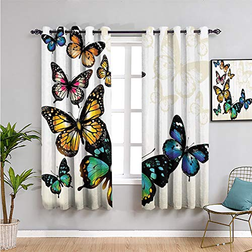 Pcglvie Cortina opaca con diseño de mariposas, 213,4 cm de largo, diseño de mariposas, tonos y sombras de fondo degradado, color azul, rosa, verde y amarillo, 52 x 84 pulgadas de ancho