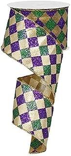 Mardi Gras Harlequin Glitter Diamond Ribbon: Purple, Green & Gold 2.5