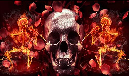 Fosstty Personalizado Papel De Pared Estéreo 3D Papel Pintado Murales Dormitorio Sala Cuarto De Los Niños TV Fondo Decoración De Pared 144Cm X 100Cm/56.7X39.4In.Cráneo Cráneo Llama