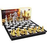 Mingi Juego de ajedrez Medieval Tablero de ajedrez 32 Piezas de ajedrez de Oro y Plata Juego de Tablero magnético Juegos de Figuras de ajedrez, con Caja