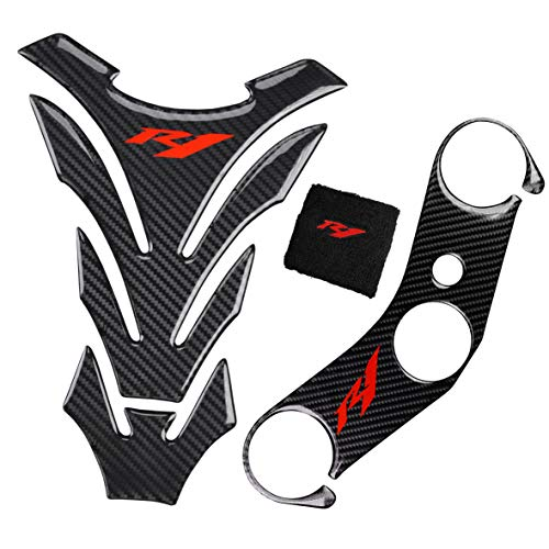 REVSOSTAR Motorcycle Gas Tank Protector Tank Pad Sticker, Top Clamp Triple Tree Pad Fit for R1 (3 Pcs Per Set)