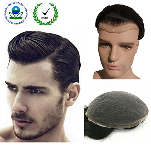 """Human Hair Toupee for men NLW European Human Hair Pieces Mens 10x8"""" Super fine French Lace human hair replacement system for man #1B Off Black"""