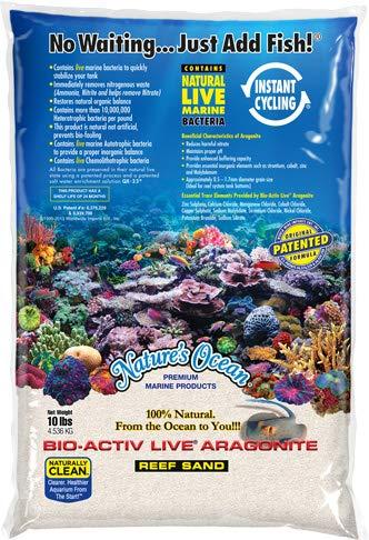 Nature's Ocean Aquarium Sand 20lb BIO-ACTIV Live Aragonite 20LB Natural White Reef Sand #1