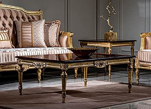Casa Padrino Mesa de Centro Barroco de Lujo Negro/Oro - Mesa de salón de Madera Maciza Hecha a Mano en Estilo Barroco - Muebles de salón barrocos Nobles