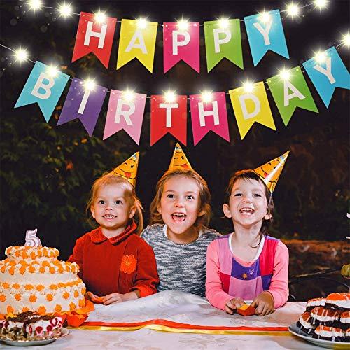 Pancarta de Happy Birthday, Guirnalda de Luces de Hada LED Cartel de Cumpleaños Colgantes con 8 Modos de Parpadeo, Guirnalda de Banderines con Cadena de Luces Funcionada por Batería (Colorido)