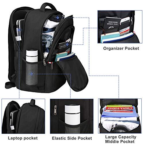 Laptop Rucksack 17 zoll Reisen Rucksack Männer Anti diebstahl Rucksack Herren and Damen,Wasserdicht Rucksack mit USB-Ladeschlitz Schulrucksack Daypack Multifunktion Business Taschen Backpack Schwarz