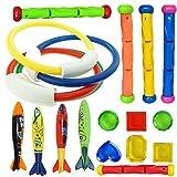 Barley33 Juego de Buceo Juguetes Set Piscina Lanzamiento Anillos de baño Juguete Accesorios de Playa para niños Niños