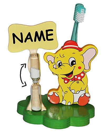 alles-meine.de GmbH Zahnputzuhr / Zahnbürstenhalter - Elefant Zirkus incl. Namen - mit Sanduhr + Zahnbürste - aus Holz - für Kinder / zum Zähneputzen für 1 Minute - Badezimmer Ba..